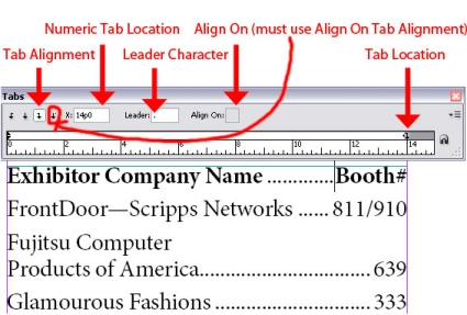 Formatting a List Using Tabs