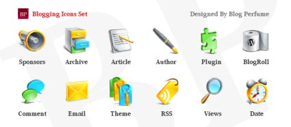 Glossy  Blogging Icons