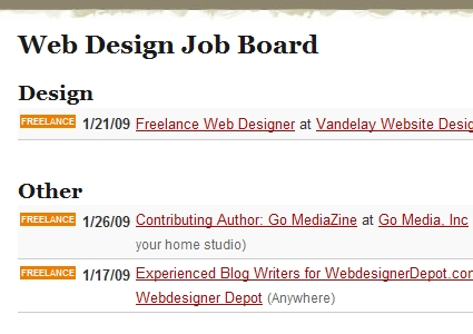 Web Design  Job Board