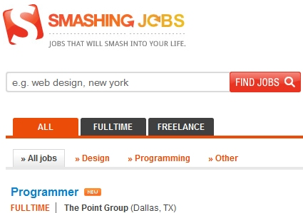Web design and development job boards