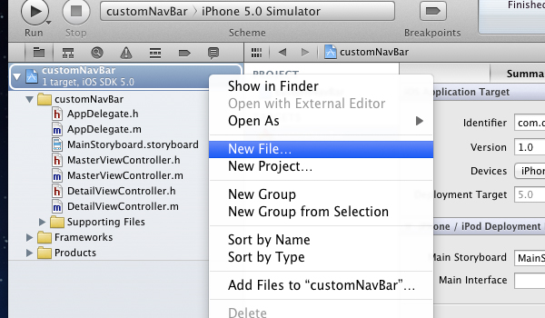 creating a new file in Xcode 4.2