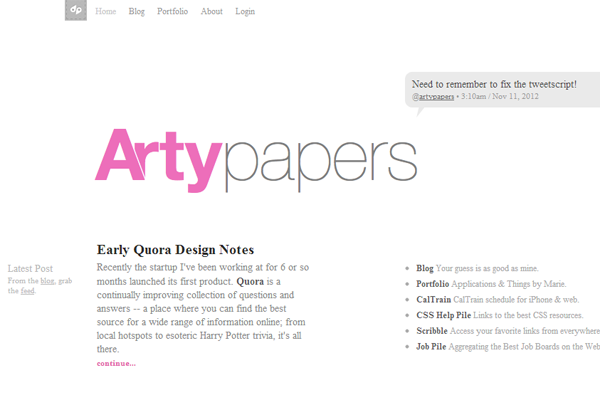 web design portfolio experiment artsy