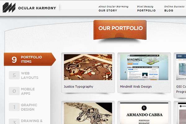 online portfolio web design Ocular Harmony layout