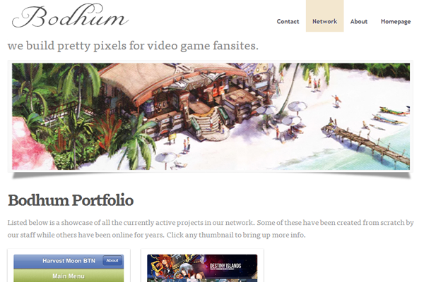 Bodhum video game network portfolio layout