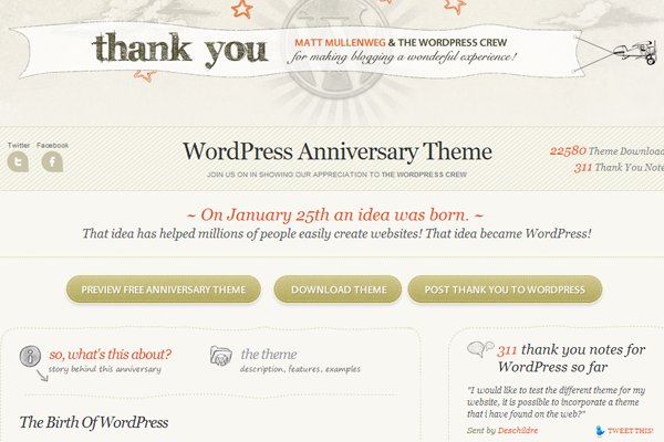 Wordpress free anniversary theme release Automattic