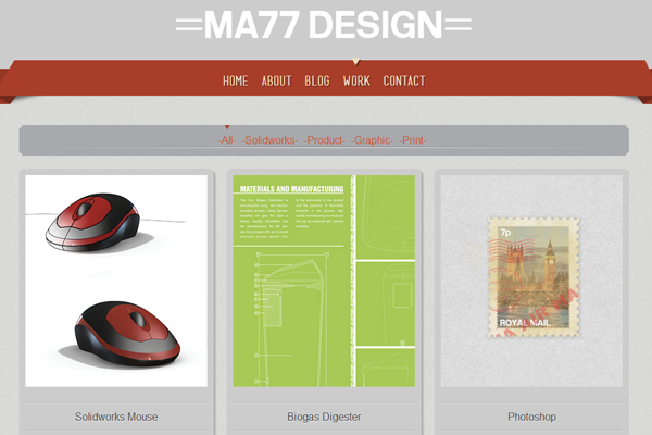 Matt Richardson website layout portfolio design