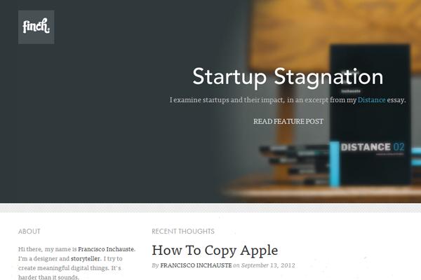 Finch startups blog website layout portfolio
