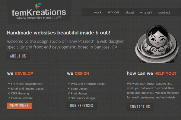 Femy Praseeth website portfolio layout femkreations