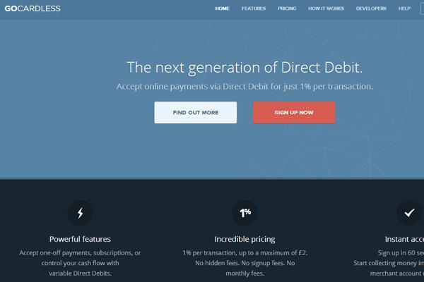 GoCardless website interface design layout blues dark