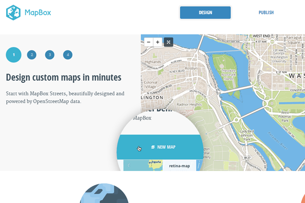 clean minimal interface mapbox design website