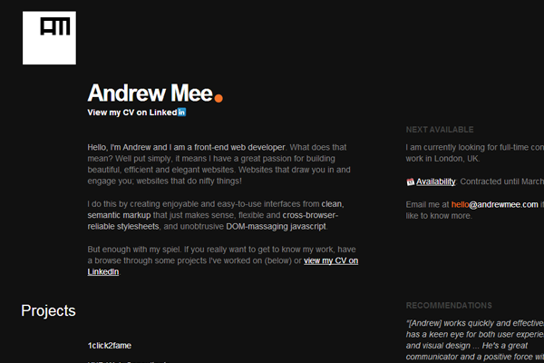 Andrew Mee United Kingdom London portfolio freelance designer