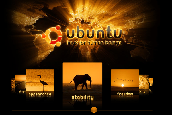 clean dark website layout Linux Ubuntu history