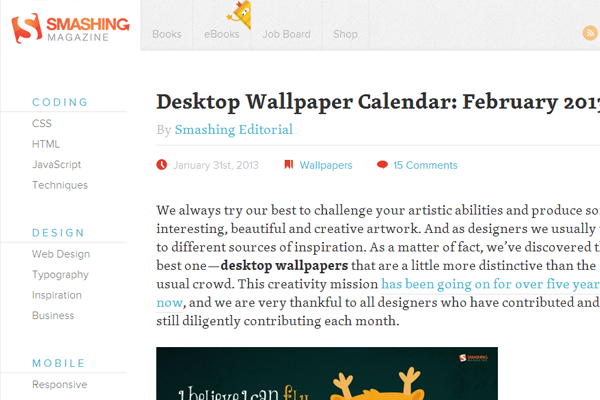 Smashing Magazine website layout articles ux germany 2013
