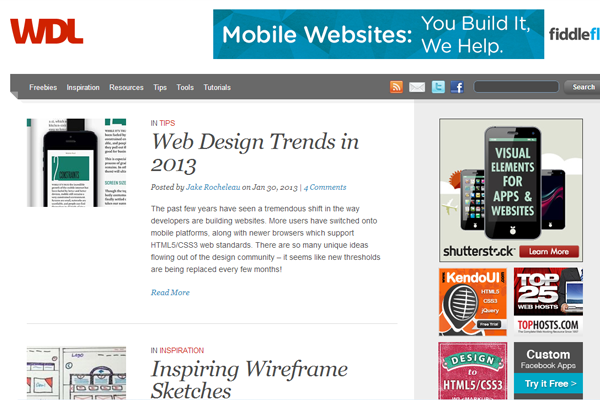 WDL website blog ledger layout inspiration