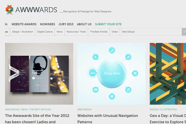 Awwwards web design blog showcase arti