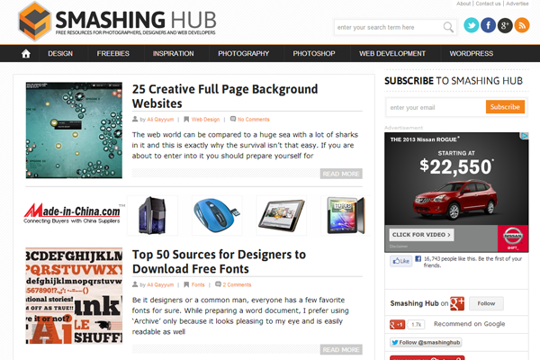 design blog smashinghub website interface layout
