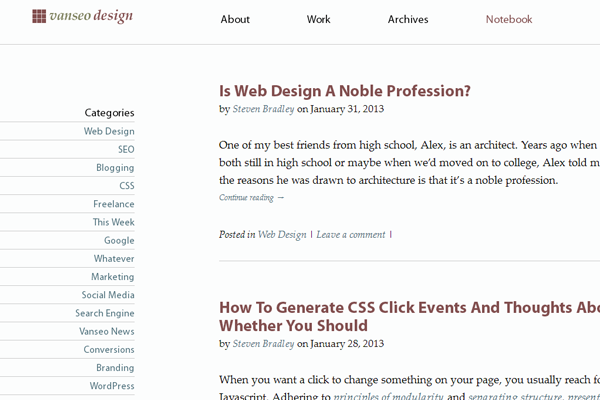 vanseo design blog website interface tutorials