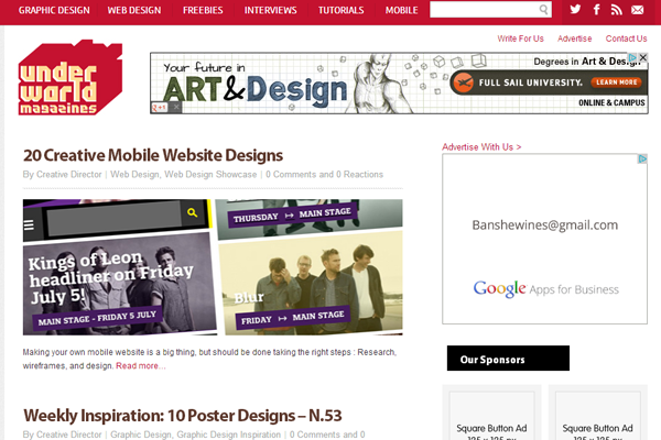weblog design layout website interface inspiration