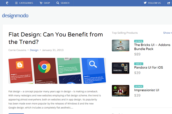 DesignModo website blog layout inspiring posts