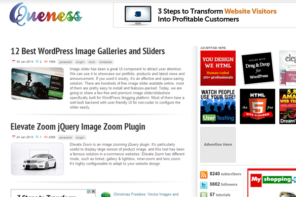 queness web design blog layout