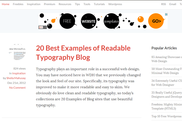 minimalist simple web design blog articles