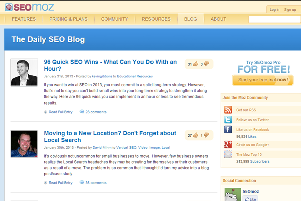 blog seomoz seo google tips webdesign