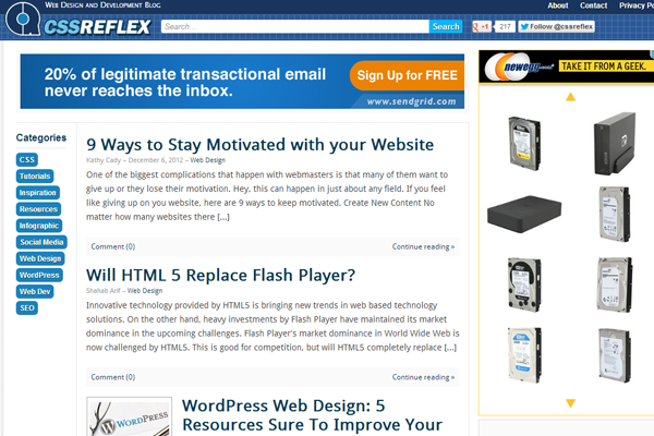 css reflex blog website design techniques