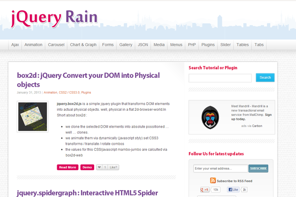 jquery rain webdesign layout website blog plugins
