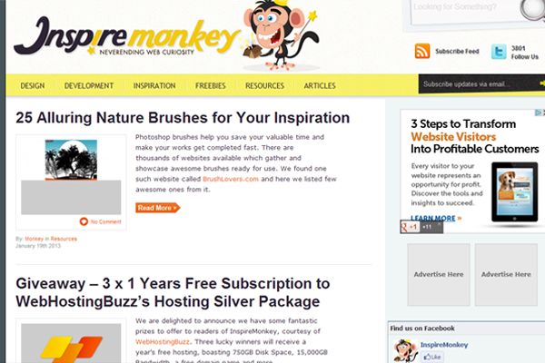 web design magazine blog inspired monkey layout