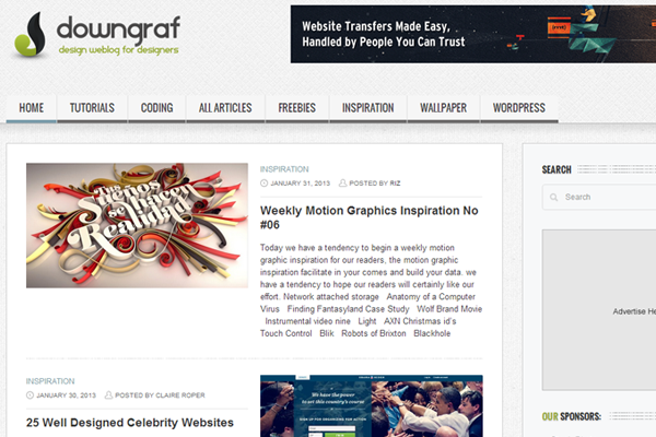 website layout designs downgraf blog magazine posts