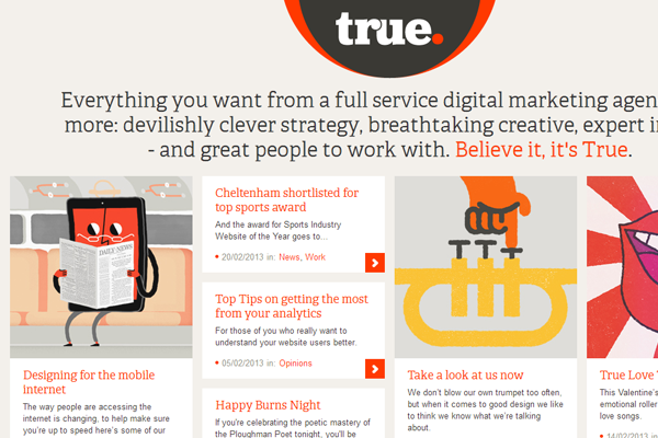true digital agency website flat layout