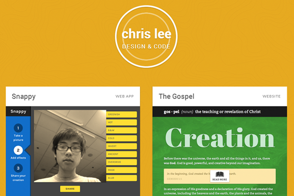 chris lee portfolio website layout