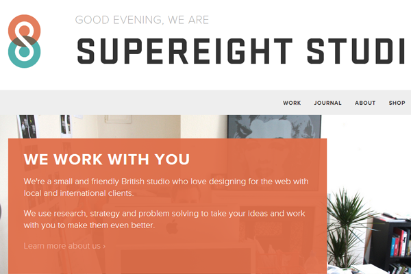 supereight studio portfolio website background flat
