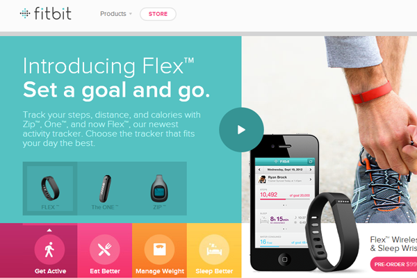 flat metro website style interface fitbit