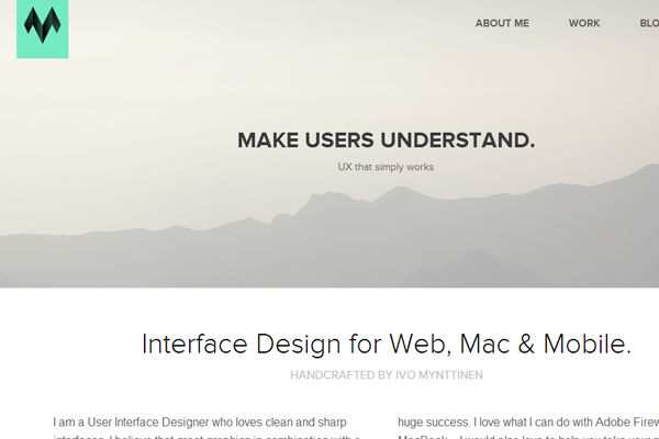 portfolio website layout flat interface
