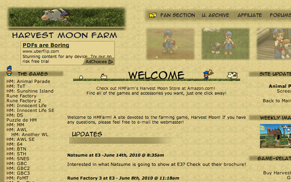 Harvest Moon farm website