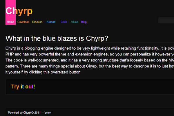 open source chyrp website homepage colorful