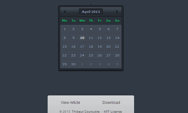 dark website interface date picker ui