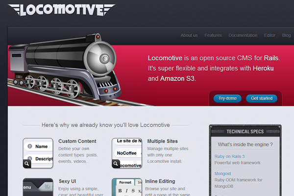Ruby on Rails Locomotive CMS website homepage