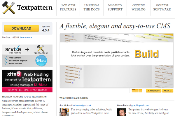 blogging writing cms textpattern website layout