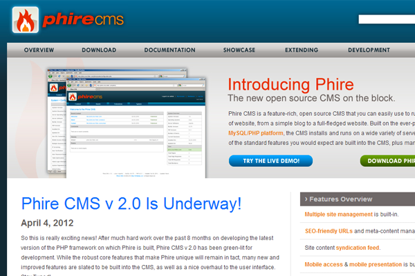 phirecms open source website homepage webdev