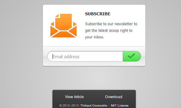 newsletter signup subscribe box effect