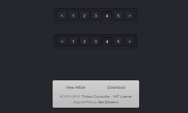 dark pagination ui effects website