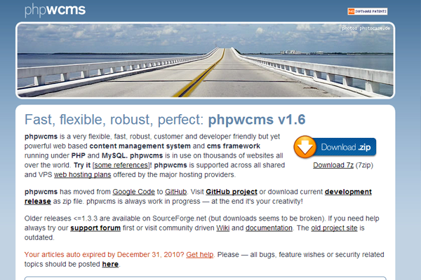 phpwcms open source cms project website mysql