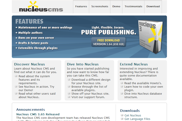 nucleus cms open source project website