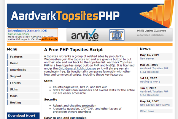 aardvark topsites php cms listing open source