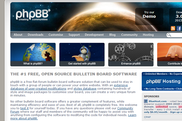 open source content management system forums bulletin boards phpbb