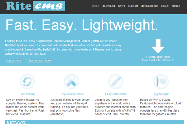 simple cms project homepage ritecms content management