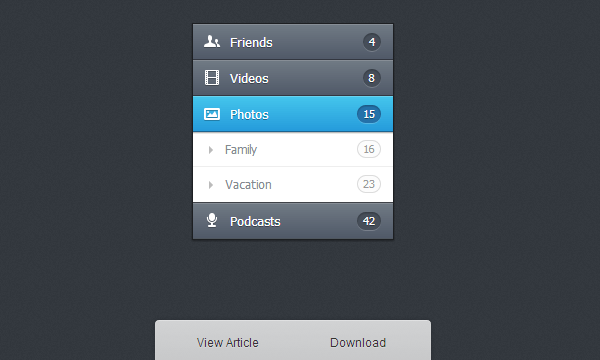 vertical html5 css3 accordion menu interface design