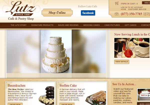lutz chicago bakery website layout ui design